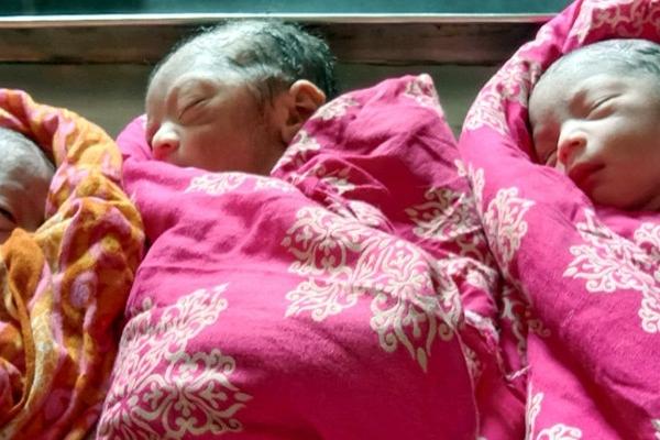 অস্ত্রোপচার ছাড়াই একসঙ্গে ৩ সন্তানের জন্ম