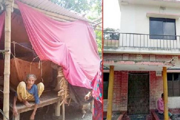 বউ নিয়ে দোতলা বাড়িতে ছেলে, ৮৫ বছরের বৃদ্ধা অসহায় মা ভাঙা ঘরে