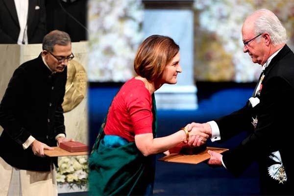নোবেল পুরস্কার প্রদান অনুষ্ঠানে বাঙালী পোশাকে অভিজিৎ ও তার স্ত্রীর পরণে শাড়ি