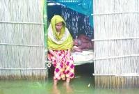 পঙ্গু স্বামীকে নিয়ে বানভাসি স্ত্রীর কষ্ট